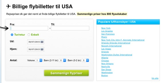 Billige fly billetter USA